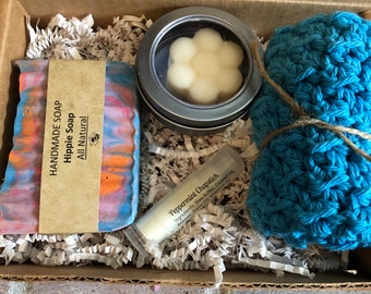 Hippie tie dye goats milk soap set, spa set, birthday gift set, bath set