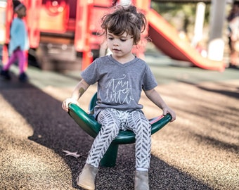 STAY LITTLE - Grey Kids V-neck Soft Cotton Tee Shirt - Size 3t 3 - Hand lettered Child's Tshirt by Dear Seed - DearSeed - Children's Tee