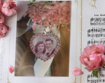 Wedding bouquet remembrance charm with your photo!   Pink