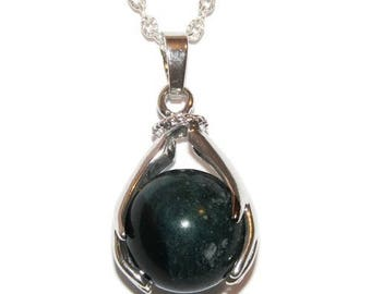 Hand held silver plated - Moss agate pendant