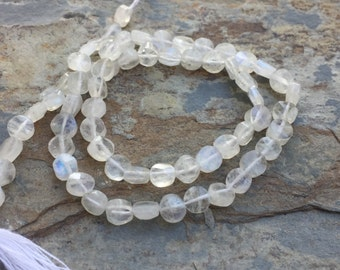 Moonstone Coin Beads, Grade AAAFaceted Moonstone Coin Beads, Rainbow Moonstone Coin Beads, 5mm, 13 inch strand