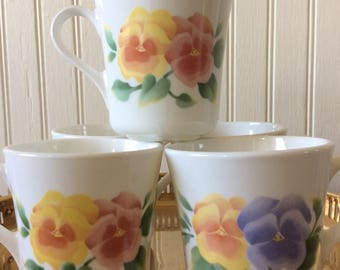 """SALE..Vintage Set of 5 Corning """" Summer Blush"""" Floral Coffee Cups/Mugs, Pansies, French Country, Cottage, Shabby Chic"""