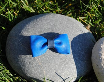 Navy blue leather bow Barrette