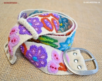 """Ladies belts Size """"M"""" - Colorful Belts - gift for women """"Andean Blossoms""""- Embroidery wool belts - Peruvian floral belts - Womens belts"""