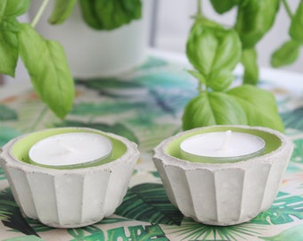 Two mini green concrete candle holders