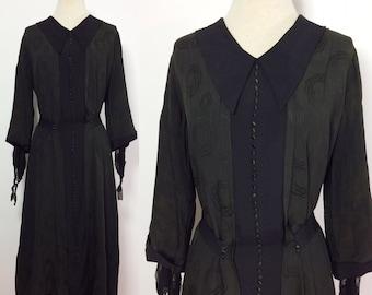 1920s Dress / Black Antique Dress / Black Cocktail Dress / Drop Waist Dress / 1920s Black Dress