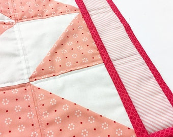 Pink Doll Quilt. American Girl Quilt. Doll Bedding. Doll Quilt. Dolly Quilt. Patchwork Quilt. Pieced Quilt. Doll Blanket. Dolly Blanket.