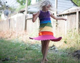 twirl dress, twirl rainbow dress, tank dress, summer dress, rainbow dress, rainbow twirl dress, upcycled dress, upcycled rainbow dress