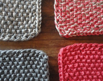 knitted cotton THROW, hand-knitted from soft cotton in different colors / patterns
