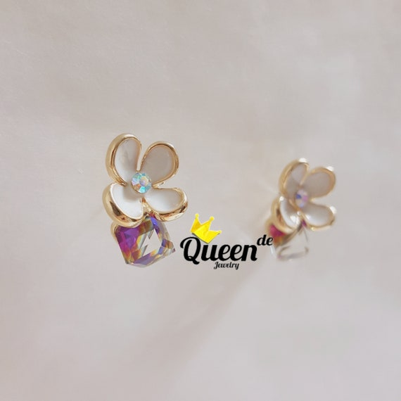 flower earrings daisy silver cuff ear stud itm gold crystal elegant earring jacket