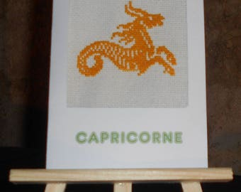 """Embroidered on canvas card Zodiac """"Capricorn"""" yellow sign"""