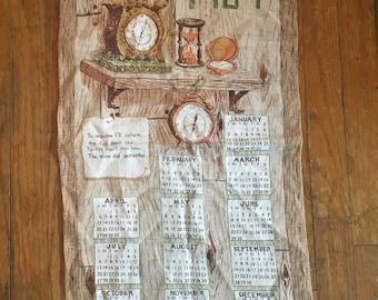 Vintage 1960 Clocks on a Shelf Linen Calendar Tea Towel