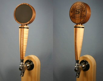 Chalkboard Beer Tap Handle with Your Logo - Solid Black Walnut Top and Tiger Maple Base with Walnut and Mahogany Stripes