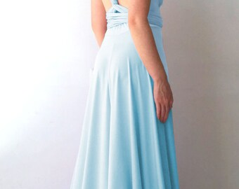 Bridesmaids dress Convertible/Infinity Dress - floor length with long straps in pool water color with matching tube top