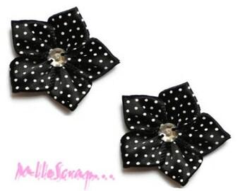 Set of 5 flowers scrapbooking card making embellishment black satin fabric *.