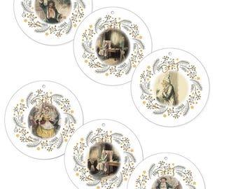 "Set of 6 Vintage ""A Christmas Carol"" 4"" Circle Canvas Christmas Ornaments Original 1843 Illustrations by John Leech"