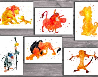 The Lion King  art print ,The Lion King disney, watercolor poster, Art Print, instant download, Watercolor Print, poster, Home Decor
