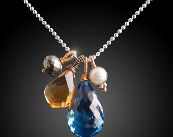 London Blue Topaz, Citrine, Pyrite, and Pearl Charm Necklace with Mixed Metals
