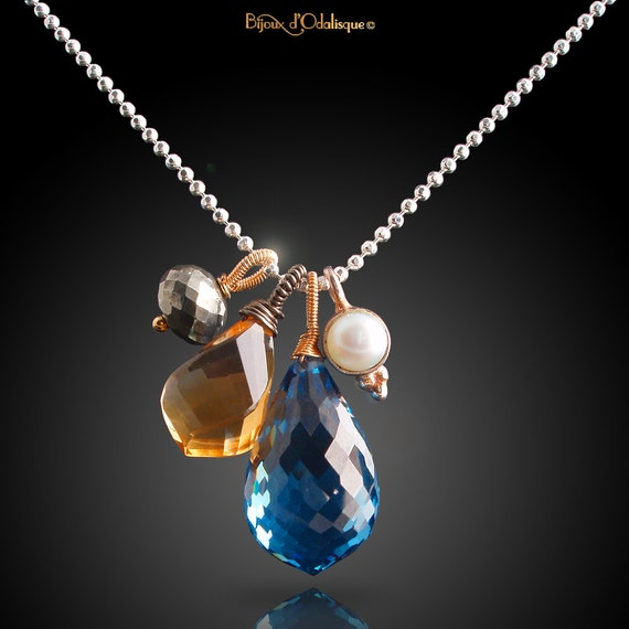 Blue Topaz And Pearl Necklace: London Blue Topaz Citrine Pyrite And Pearl Charm Necklace