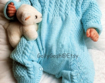 PDF Knitting Pattern for a Babies Sleep-Suit/Onsie/All-In-One Suit - Instant Download