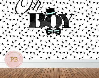 Oh Boy Backdrop, Baby Shower Backdrop, Birthday Backdrop, Sweet Table Decor, Photobooth Backdrop, DIGITAL