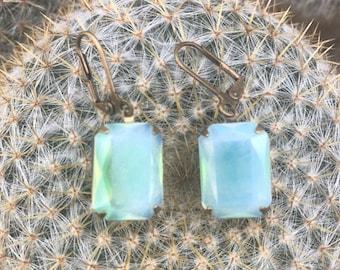 Vintage Opalescent Green Stone Dangle Earrings