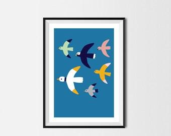 Birds Print A3