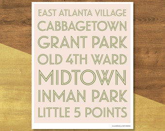 Atlanta Neighborhoods Poster | Digital Download
