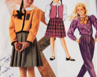 McCall's 2648 Girls' jacket, vest, blouse, bow tie, skirt and pants pattern Uncut Size 7