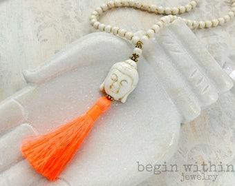 Buddha Mala Beads | White Buddha Tassel Necklace | Buddha Necklace | Meditation Jewelry