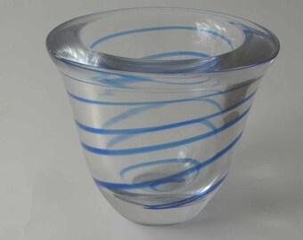 Vintage Kosta Atoll vase, Swedish glass, 70s Scandinavian modern, Kosta vase, blue swirl vase, vintage glass vase, blue glass vase, 70s vase