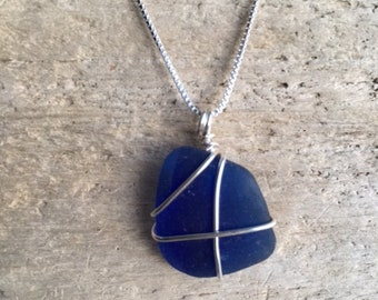 Seaglass blue necklace