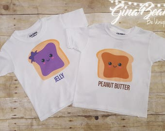 Peanut butter and jelly shirts.. twins best friends