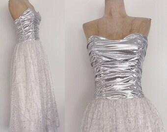 1980's Gunne Sax Silver Lame & White Lace Evening Gown Size XS Small by Maeberry Vintage