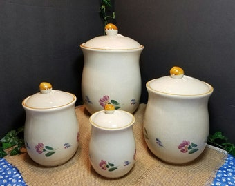 Ivory Colored Canister Set, International China Stoneware, Stoneware Canister Set, Kitchen Storage, Gift Giving