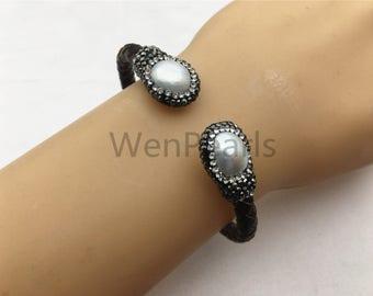 Mens pearl bracelet Etsy