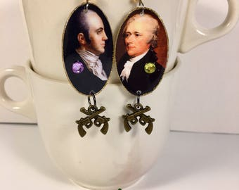 Alexander Hamilton and Aaron Burr Earrings duel pistols shot to death  politicians  challenge to a duel