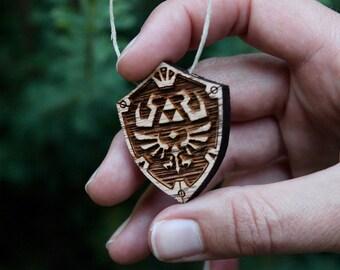 Legend of Zelda Hylian Shield Necklace, Pendant, Jewelry, Triforce, Zelda, Link, Oak, Wood