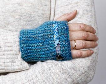 Hand knitted art design fingerless gloves