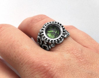 Mens Ring Silver Filigree, The Vampire Diaries Inspired, Gothic Ring, Green, Adjustable