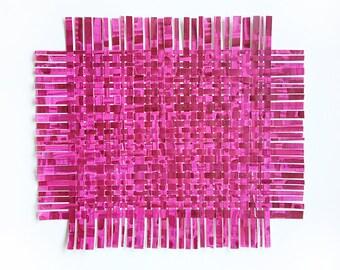 Magenta Paper Weaving- 17x14- Handpainted Paper Art-  Colorful Abstract-  Dark Pink
