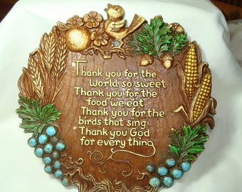 Vintage Simulated Wood with Birdie and Fruit and Veggie Border Thank You For The World So Sweet Prayer Plaque.
