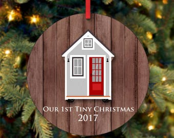 Our First Tiny Christmas Ornament, Tiny House Ornament, Our First Christmas Ornament, 2017 Ornament, Custom Ornament (0022)