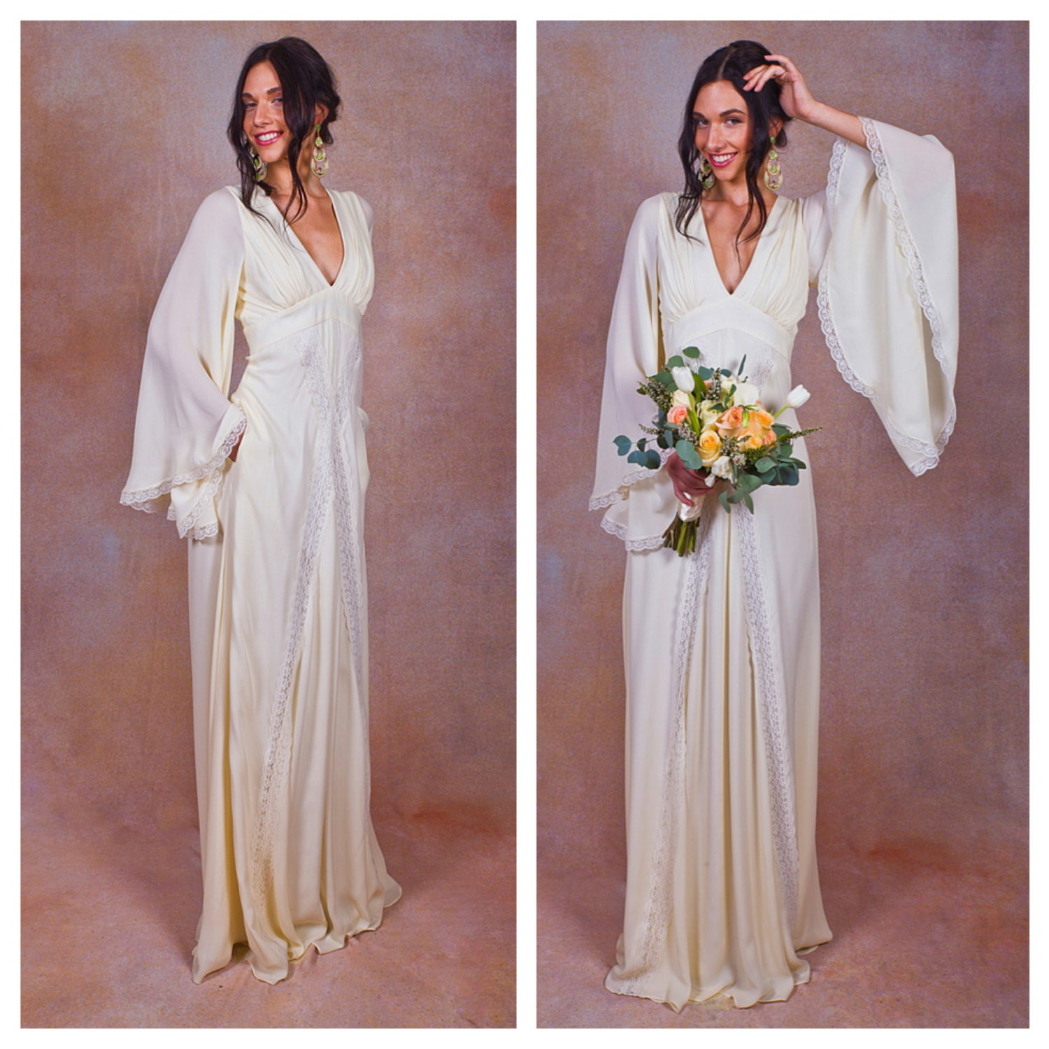 Bohemian Wedding Dress: Ivory Pure Silk Bohemian Wedding Dress. Bell ANGEL SLEEVES