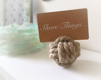 Place Card Holders, Beach Wedding, Nautical Style, Rope Knot Name Card Holder