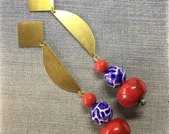Earrings / Gold statement earrings / Big earrings / Geometric earrings / Gold Earrings / Boho Jewelry /  Tribal / Chunky Earrings / ROJO