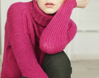 Hipster Sweater | Purple Sweater | Violet Sweater | Pink Sweater | Alpaca Wool Sweater | High Neck Sweater | Hand Knit Sweater