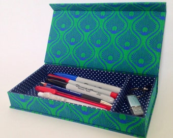 Green Deco Handmade Fabric Covered Pencil Case/Desk Organiser