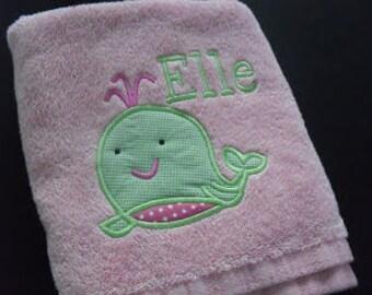 Gril Whale Applique Towel