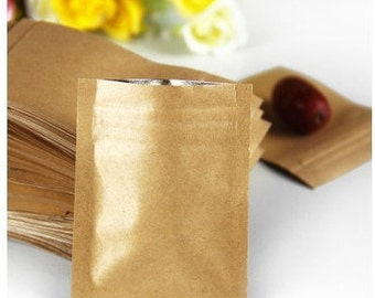 100pcs 60*80mm Zipper/zip lock Kraft paper bag,Aluminum foil kraft paper bag for gift/coffee/tea/Snack/blank brown kraft bag